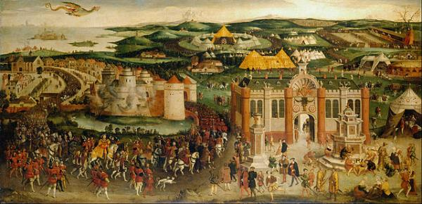 Henry VIII and Francis I meeting at the Field of the Cloth of Gold, 1520