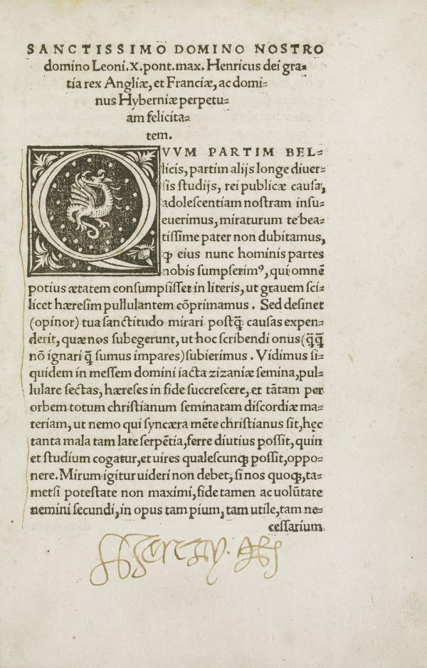 Copy of Henry VIII's Assertio Septem Sacramentorum, held in the Royal Collection