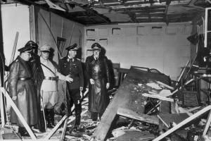 Adolf Hitler surveying damage at the Wolf's Lair after the Bomb Plot