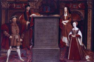 Copy of the Whitehall mural showing Henry VIII, his parents, and Jane Seymour