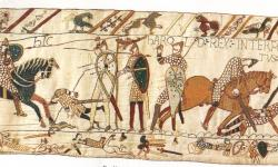 The Battle of Hastings depicted on the Bayeux Tapestry