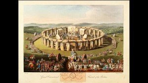 Druid Festival at Stonehenge as imagined in the 19th century in Charles Hamilton Smith and Samuel Rush Meyrick's Costume of the Original Inhabitants of the British Islands