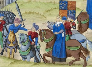 Wat Tyler's death (left to right: Sir William Walworth, Wat Tyler, King Richard II; and Sir John Cavendish)