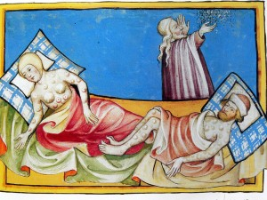 Illustration of the Black Death from the 1411 Toggenburg Bible.