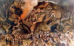 Alan Sorrell's depiction of the attack on Southchurch Hall, Essex