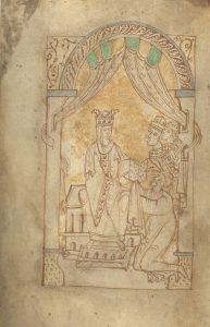 Emma of Normandy receiving the 'Encomium Emmae Reginae' from the author, with Harthacnut and Edward in the background.