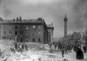 The shell of the GPO after the surrender of the rebels. Courtesy of National Library of Ireland on The Commons
