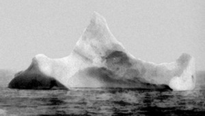 The iceberg Titanic is believed to have hit. Photograph taken on 15th April 1912.