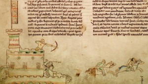 13th century depiction of Perche's death in the Second Battle of Lincoln