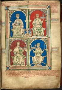 Matthew Paris' 13th century depiction of the kings of England from Henry II to Henry III. The Young King is in the middle of the picture.