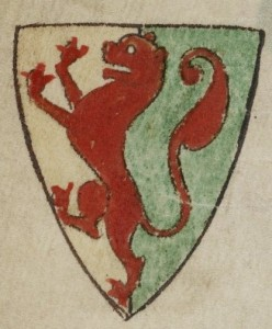 William Marshal's coat of arms, as sketched in the 13th century by Matthew Paris.