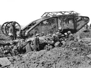 A British Mark I 'male' tank broken down near Thiepval, 25th September 1916. Part of the Imperial War Museum collection (Q2486)