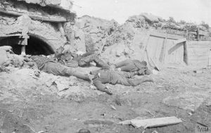 Dead British soldiers behind the battle lines. IWM Q.42228
