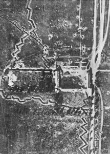 Aerial photograph of Mouquet Farm, a German strongpoint on the Somme near Thiepval, taken prior to 1 July 1916. IWM Q.27637