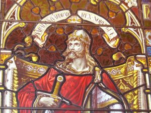 Stained glass window in Kirkwall Cathedral depicting Harald. Image by Colin Smith.