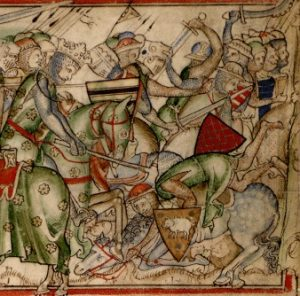 Harald defeating the army of Edwin and Morcar at the Battle of Fulford. Image taken from Paris' Life of King Edward.