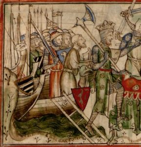 Harald landing at Riccall near York. Image taken from Paris' Life of King Edward