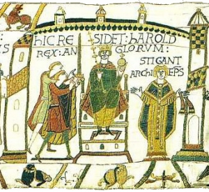 Harold at his coronation, according to the Bayeux Tapestry