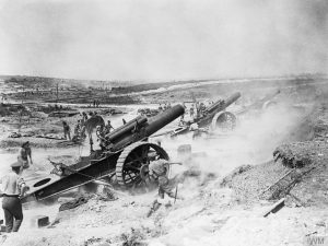 Howitzers used by the British army to bombard the German trenches during the Battle of the Somme. IWM Q.5817