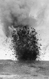 A heavy shell bursting during the battle. IWM Q.55533