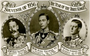 The Year of the Three Kings postcard, showing George V, George VI and Edward VIII