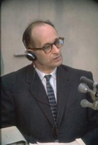 Adolf Eichmann testifying at his trial in 1961