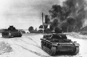 As German tanks advanced towards Moscow, local farmers burnt their crops. Photograph supplied by Britannica Online.