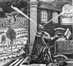 Frontispiece of the Eikon Basilike, depicting Charles as a martyr