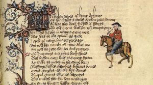 Chaucer's Wife of Bath, taken from the Ellesmere Manuscript of the Canterbury Tales. Written English only came back into use in the 14th century, thanks to the likes of Chaucer.